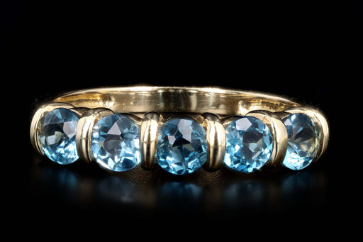 Modern 14K Yellow Gold 1.30 Carat Round Blue Topaz Band - Queen May