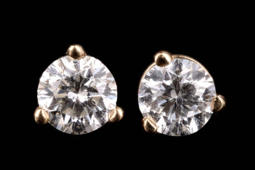 New 14K Gold .44 Carat Round Brilliant Cut Diamond Martini Stud Earrings - Queen May