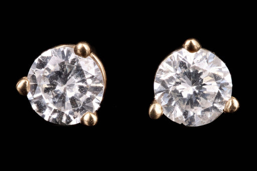 New 14K Yellow Gold .50 Carat Round Brilliant Cut Diamond Martini Stud Earrings - Queen May