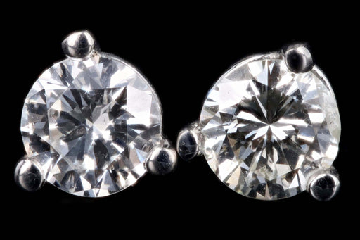 New 14K Gold .27 Carat Round Brilliant Cut Diamond Martini Stud Earrings - Queen May