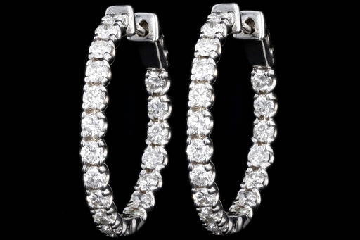 Modern 14K White Gold 3.59 Carat Round Brilliant Diamond Inside Out Hoop Earrings - Queen May