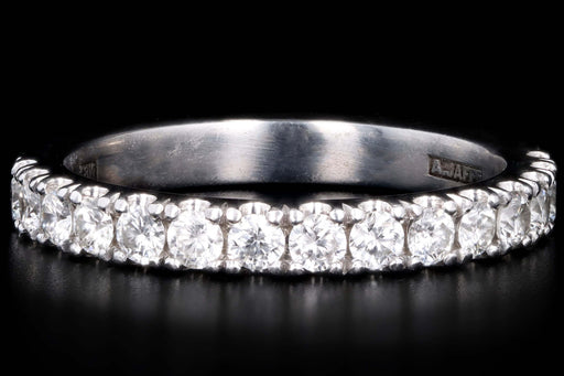 Modern 18K White Gold .50 Carat Round Brilliant Cut Diamond Half Eternity Band - Queen May