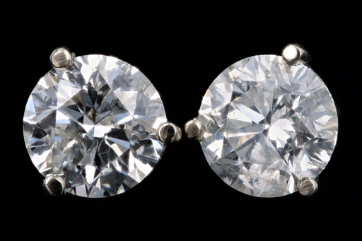 New 14K White Gold 2.06 Carat Round Brilliant Cut Diamond Martini Stud Earrings - Queen May