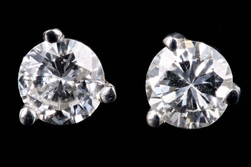 New 14K White Gold .39 Carat Round Brilliant Cut Diamond Martini Stud Earrings - Queen May