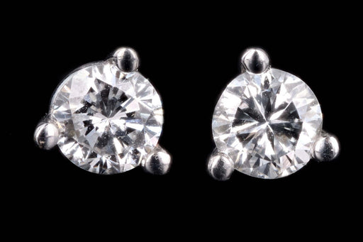 New 14K White Gold .24 Carat Round Brilliant Cut Diamond Martini Stud Earrings - Queen May