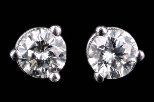New 14K White Gold .36 Carat Round Brilliant Cut Diamond Martini Stud Earrings - Queen May