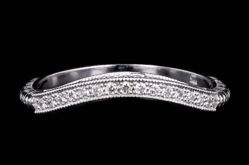 New 14K White Gold Half Eternity Curved Diamond Band Ring Jacket - Queen May