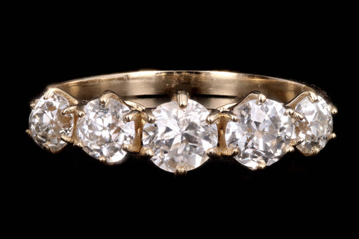 New 14K Yellow Gold 1.39 Carat Old European Cut Diamond 5 Stone Band - Queen May