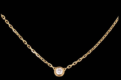 Modern Cartier Small Diamants Legers 18K Yellow Gold Diamond Pendant Necklace - Queen May