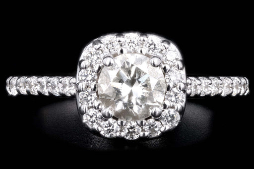 Modern 14K White Gold .62 Carat Round Brilliant Cut Diamond Engagement Ring - Queen May
