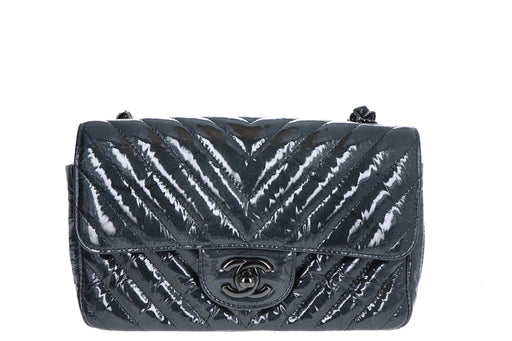 Rare Chanel Crumpled Patent Chevron Classic Flap Mini Rectangular So Black Crossbody - Queen May