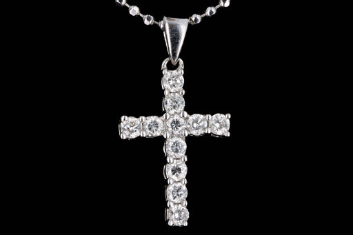 Modern 18K White Gold .29 Carat Round Brilliant Diamond Cross Pendant Necklace - Queen May