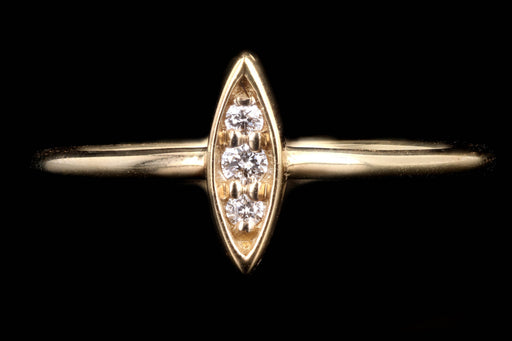 New 14K Yellow Gold Diamond Marquise Shape Ring - Queen May
