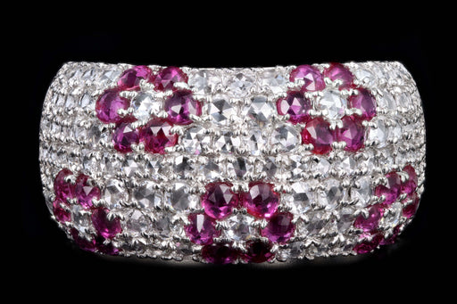 Modern Platinum Diamond and Ruby Flower Dome Ring - Queen May