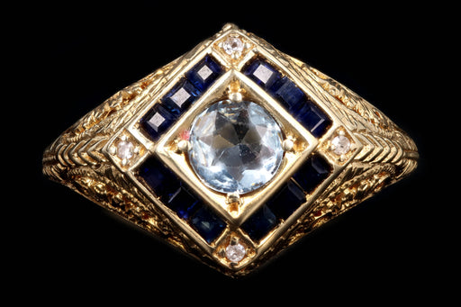 Art Deco Style 14K Yellow Gold .31 Carat Aquamarine & Sapphire Ring - Queen May
