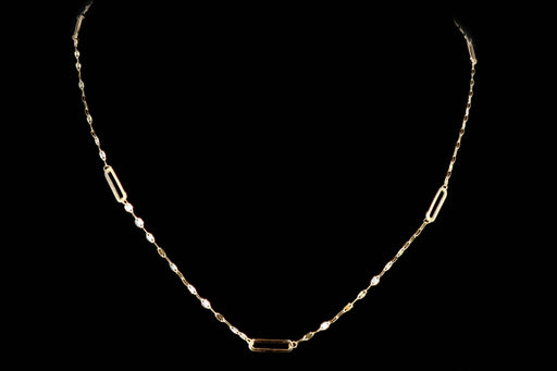 New 14K Yellow Gold Paperclip Station Necklace - Queen May