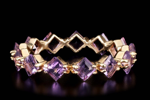Modern 14K Yellow Gold 1.50 Carats Amethyst Band - Queen May