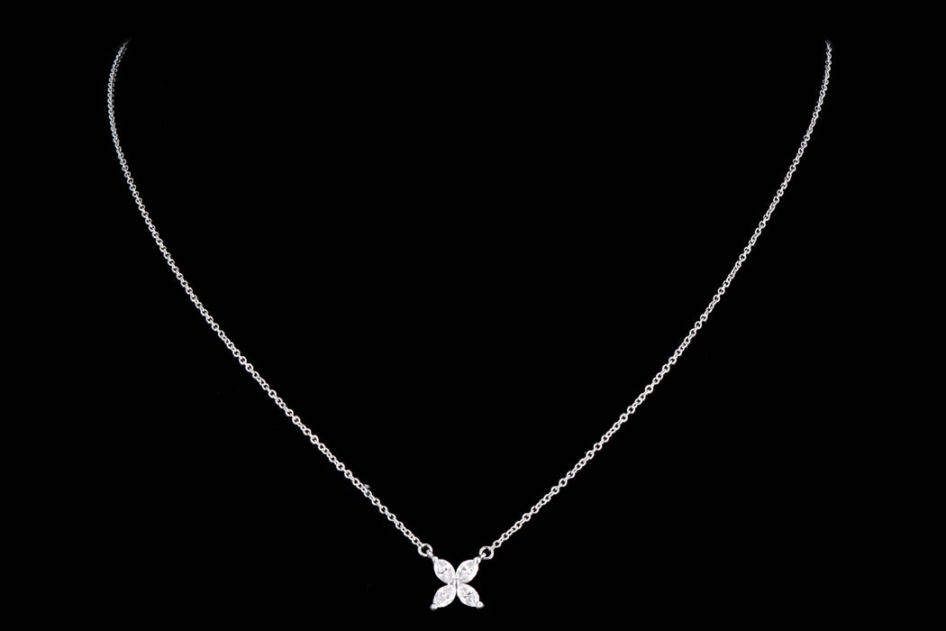 Modern Tiffany & Co. Platinum Diamond Victoria Pendant Necklace - Queen May