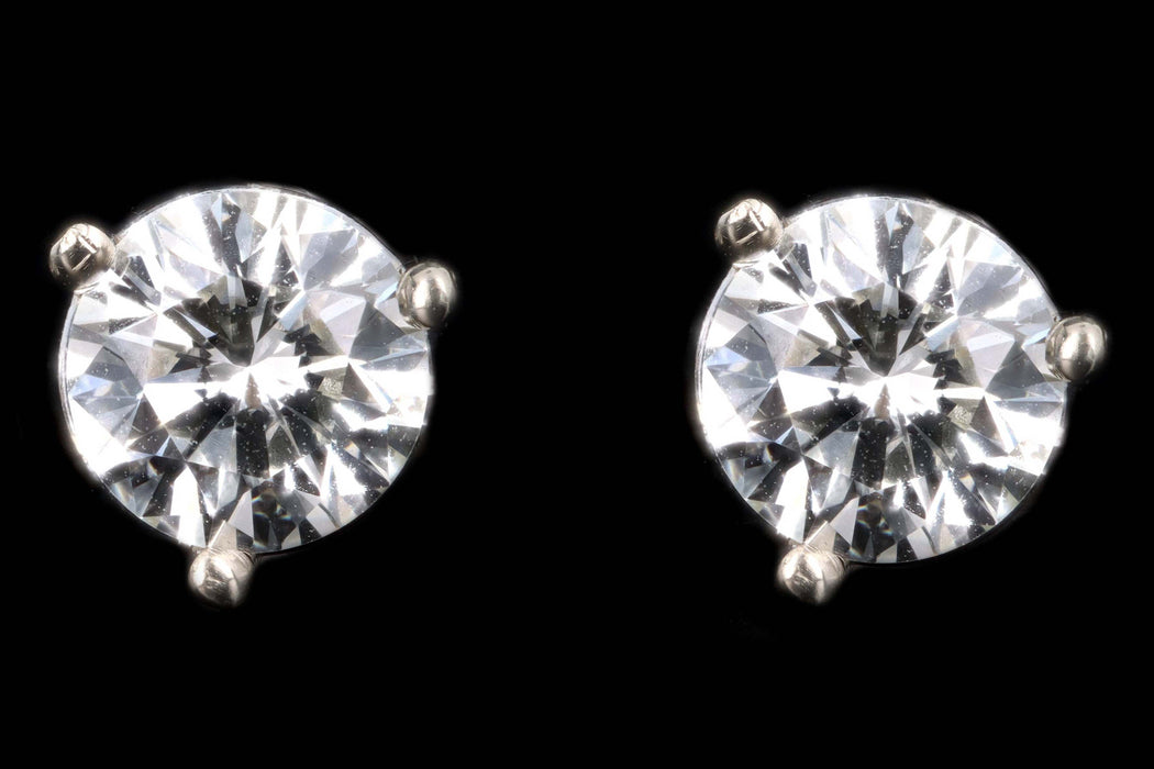 New 14K White Gold 1.03 Carat Round Brilliant Cut Diamond Martini Stud Earrings - Queen May