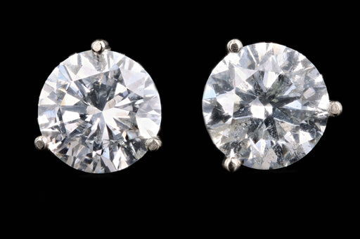 New 14K White Gold 4.88 Carat Round Brilliant Cut Diamond Martini Stud Earrings - Queen May