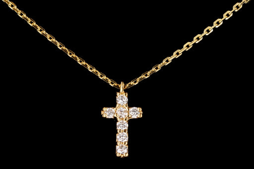 New 14K Gold Diamond Cross Pendant Necklace - Queen May