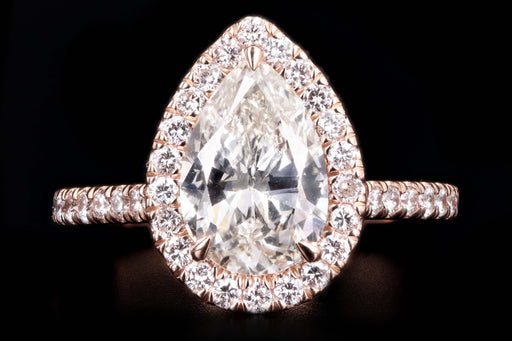 New 14K Rose Gold 2.10 Pear Brilliant Cut Diamond Halo Engagement Ring GIA Certified - Queen May