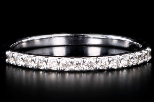 Modern 14K White Gold .20 Carats Total Round Cut Diamond Half Eternity Band - Queen May