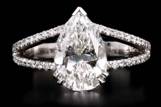 New Platinum 2.87 Carat Pear Brilliant Cut Diamond Split Shank Engagement Ring GIA Certified - Queen May