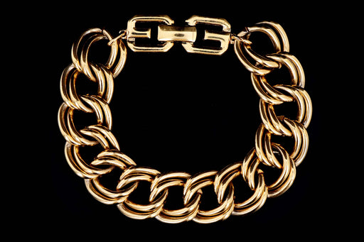 Vintage Givenchy Gold Plated Curb Link Bracelet - Queen May