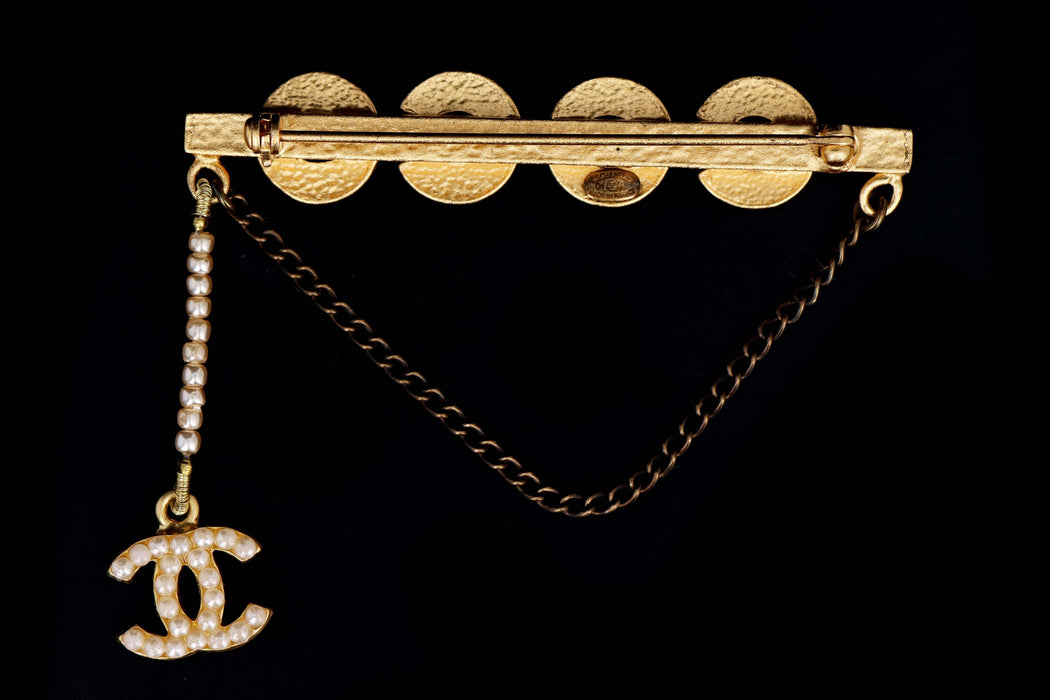"Modern Chanel ""COCO"" Pearl A Gold Bar Brooch  with Chain and Charm - Queen May"