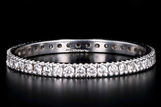 Modern 14K White Gold .35 CTW Round Brilliant Cut Diamond Eternity Band - Queen May