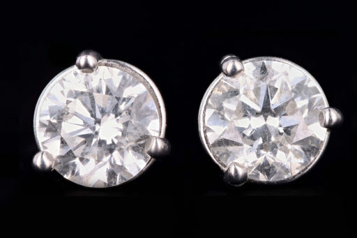 New 14K White Gold 1.05 Carat Round Brilliant Cut Diamond Stud Earrings - Queen May