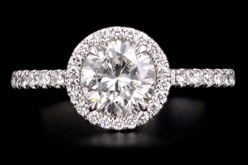 New Platinum 1.16 Carat Round Brilliant Cut Diamond Halo Engagement Ring GIA Certified - Queen May