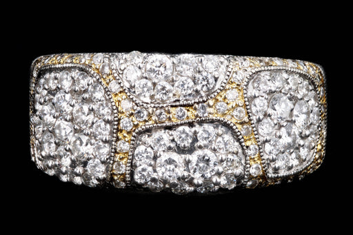 Modern 18K Gold 1 Carat Round Brilliant Cut Diamond Pave Band - Queen May