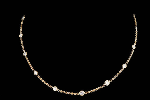 Modern 14K Yellow Gold 1.8 Carat Diamond By The Yard Necklace - Queen May