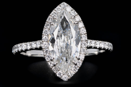 New Platinum 1.59 Carat Marquise Cut Diamond Halo Engagement Ring GIA Certified - Queen May