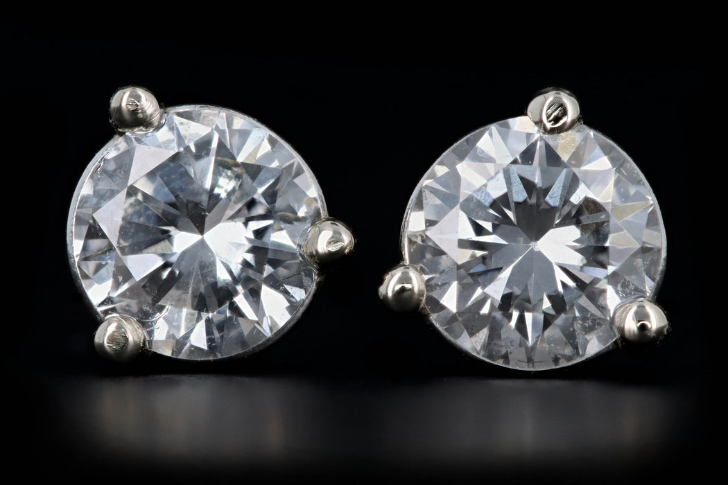 New 14K White Gold .53 Carat Round Brilliant Diamond Martini Stud Earrings - Queen May