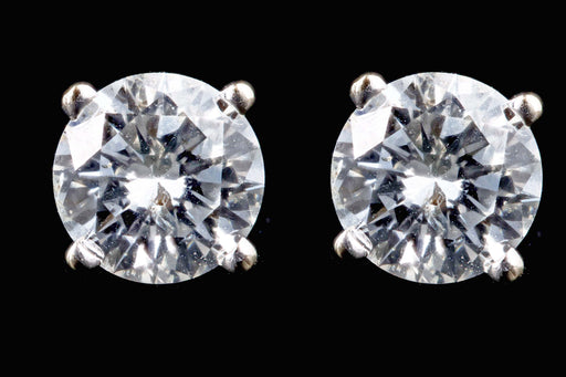 New 14K White Gold .88 Carat Round Brilliant Diamond Screw Back Stud Earrings - Queen May