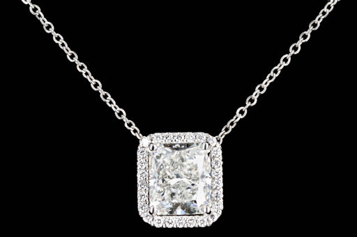New Platinum 2.43 Carat Radiant Cut Diamond Pendant Necklace GIA Certified - Queen May