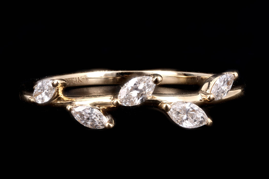 New 14K White, Yellow, or Rose Gold Gold .25 Carat Diamond Leaf Band - Queen May