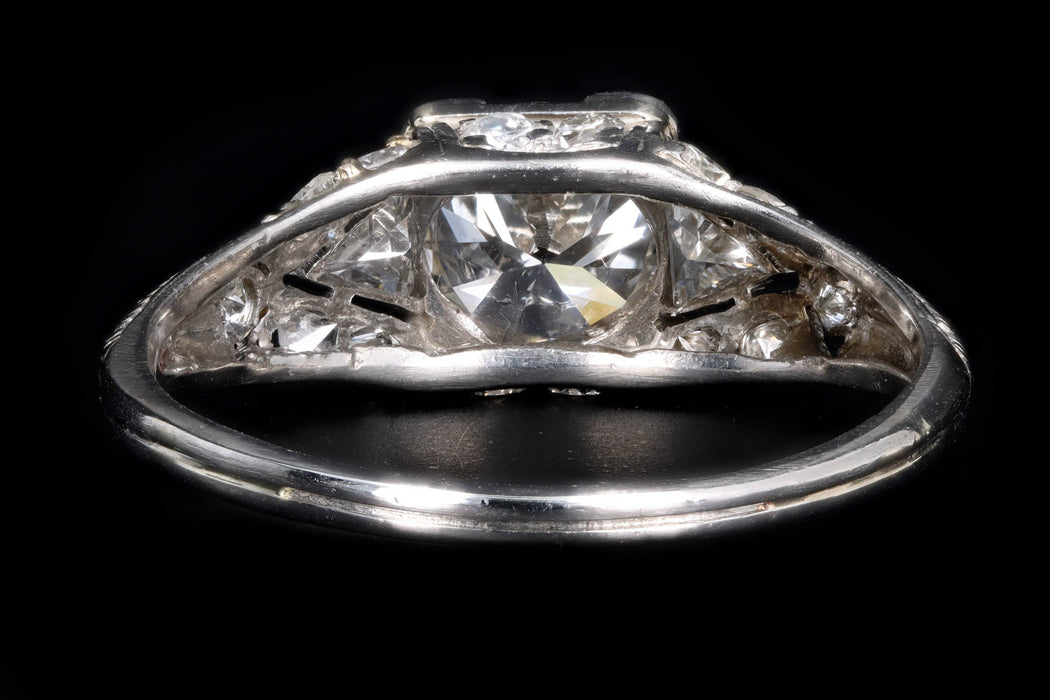 Art Deco Platinum 1.16 Old European Cut Diamond Engagement Ring - Queen May