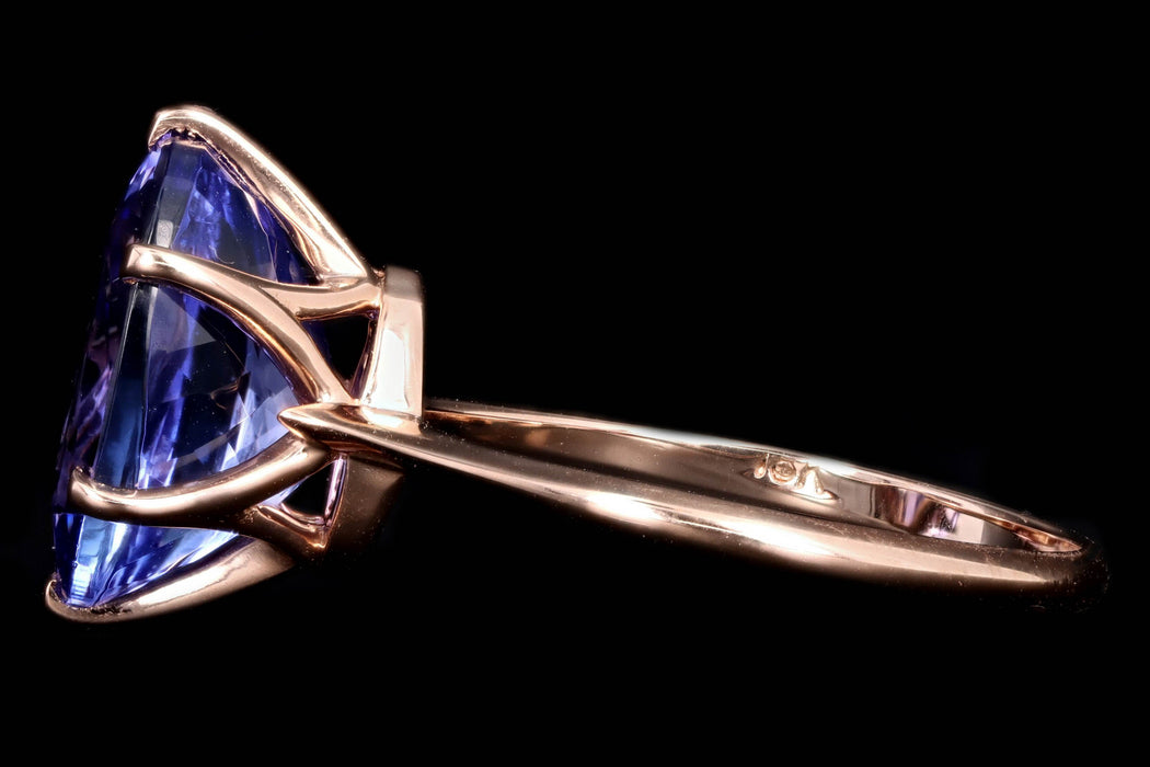 New Vintage Inspired 18K Rose Gold 5.05 Carat Oval Cut Tanzanite Ring - Queen May