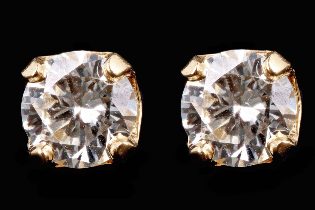 Modern 14K Yellow Gold .45 Carat Round Brilliant Diamond Stud Earrings - Queen May