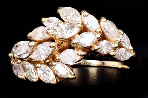 Vintage 14K Yellow Gold 2 Carat Marquise Cut Diamond Ring - Queen May