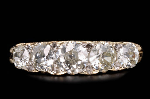 Victorian 18K Yellow Gold 2.1 Carat Old European Cut Diamond Band - Queen May