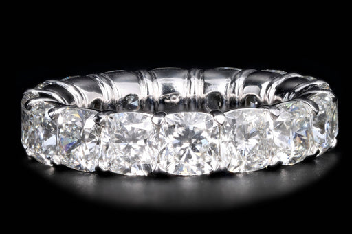 New Platinum 8.24 Carat Cushion Cut Diamond Eternity Band GIA Certified - Queen May