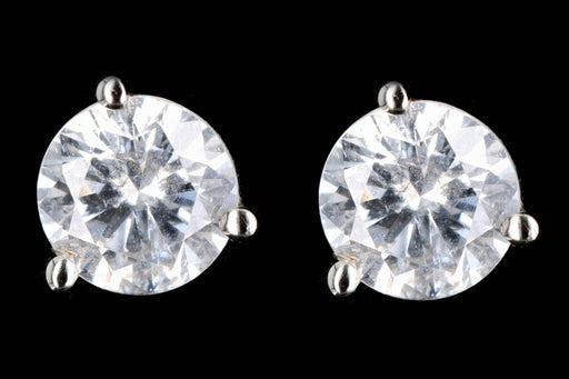 New 14K White Gold 1 Carat Round Brilliant Diamond Stud Earrings - Queen May