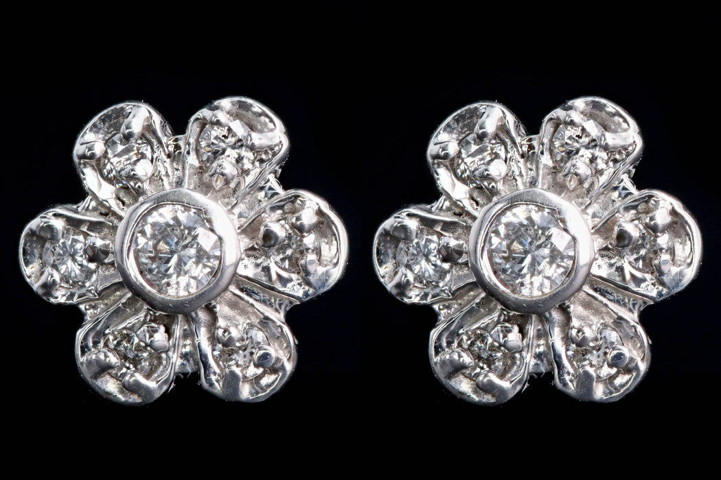 Modern 14K White Gold .20 Carat Round Brilliant Diamond Flower Stud Earrings - Queen May