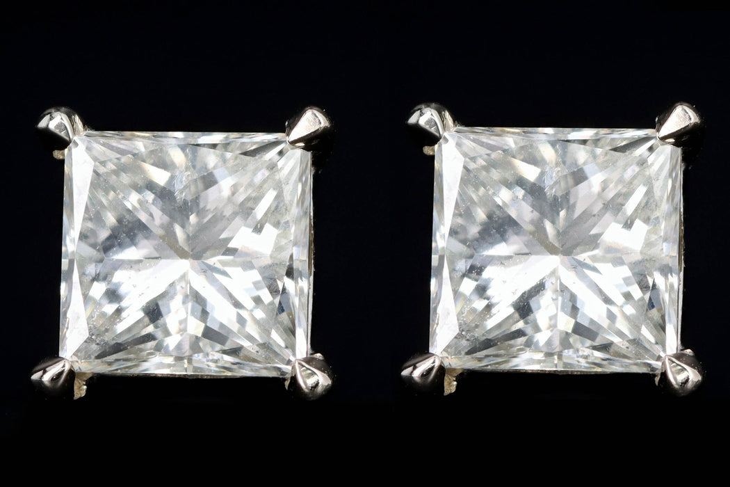 New 14K White Gold 2.10 Carat Princess Cut Diamond Stud Earrings - Queen May