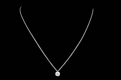 New 14K White Gold .72 Carat Round Brilliant Diamond Pendant Necklace - Queen May